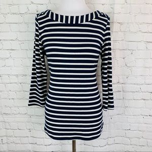 Monteau Navy & White Striped Elbow Patch Top